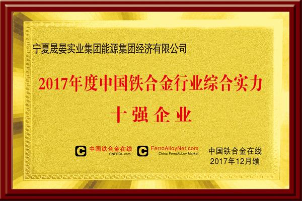 2017年度中国铁合金行业综合实力十强企业